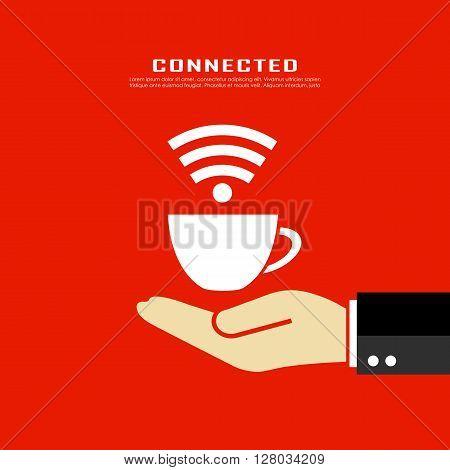 Internet cafe poster design on red background