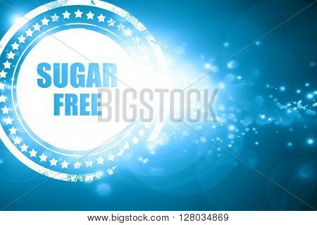 Blue stamp on a glittering background: sugar free sign