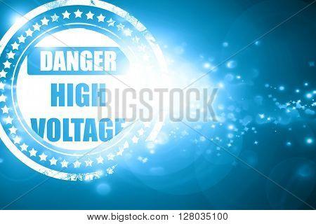 Blue stamp on a glittering background: high voltage sign