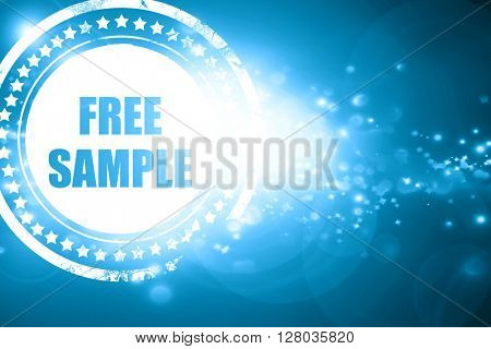 Blue stamp on a glittering background: free sample sign