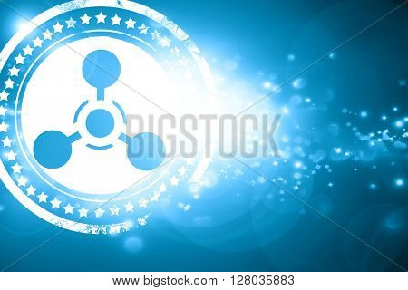 Blue stamp on a glittering background: Chemical weapon sign