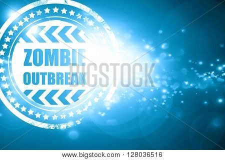Blue stamp on a glittering background: zombie virus concept back