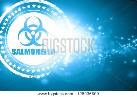 Blue stamp on a glittering background: Salmonella concept background