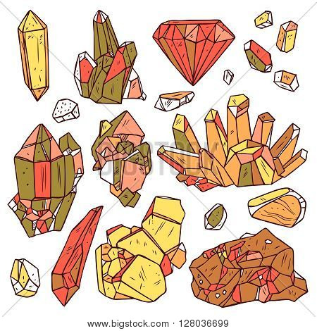 Set Of Hand Drawn Crystals And Minerals. Trendy Hipster Design Elements. Color Geometric Gems