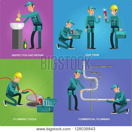 detailed character proffesional plumber men set with repair professional fixing water pipes. Concept banner plumbing servise