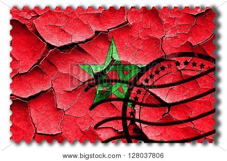 Grunge Morocco flag with some cracks and vintage look