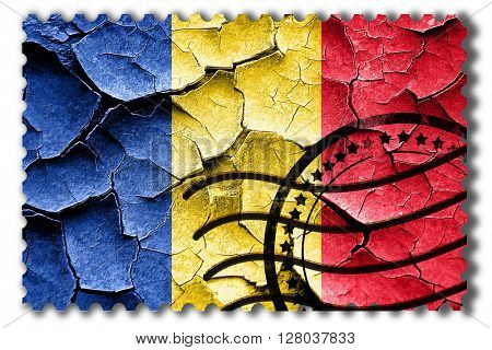 Grunge Romania flag with some cracks and vintage look