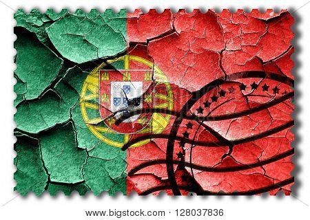 Grunge Portugal flag with some cracks and vintage look