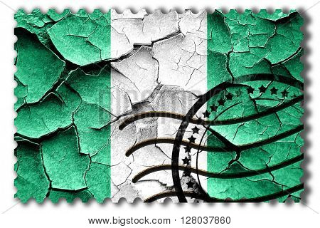 Grunge Nigeria flag with some cracks and vintage look