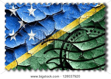 Grunge Solomon islands flag with some cracks and vintage look