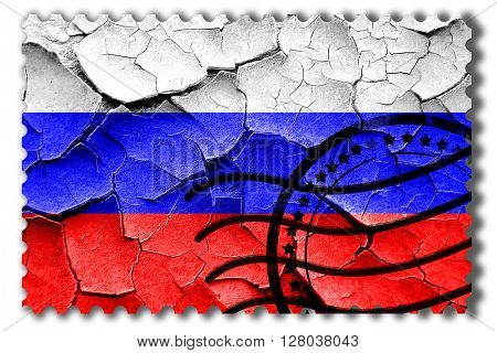 Grunge Russia flag with some cracks and vintage look