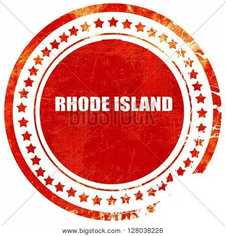 rhode island, grunge red rubber stamp on a solid white backgrou