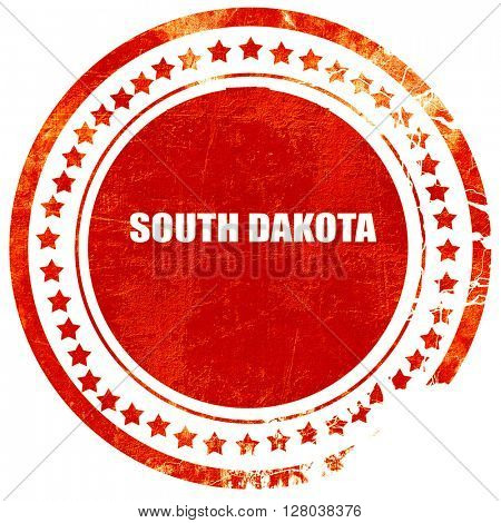 south dakota, grunge red rubber stamp on a solid white backgrou