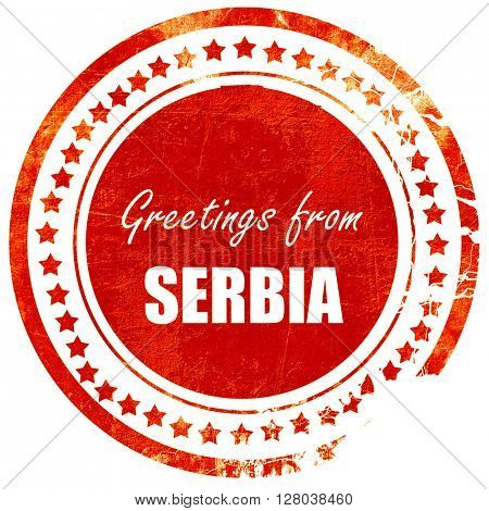 Greetings from serbia, grunge red rubber stamp on a solid white