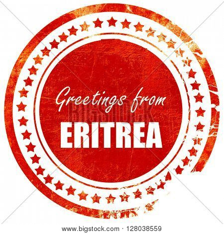 Greetings from eritrea, grunge red rubber stamp on a solid white