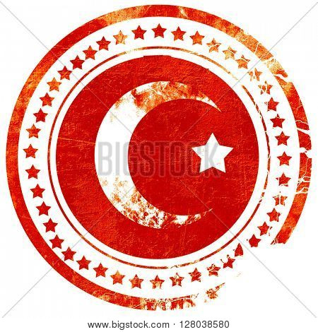 Islam faith symbol, grunge red rubber stamp on a solid white bac