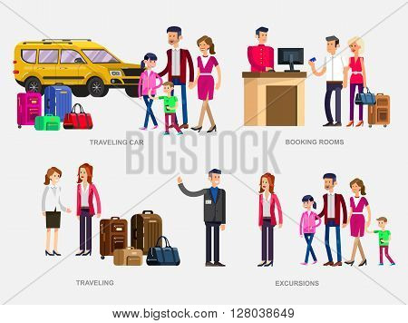 Vector detailed character people. Family summer holiday travel on car, Booking rooms in hotel, tour guide, female friend with bag and suitcase going traveling,