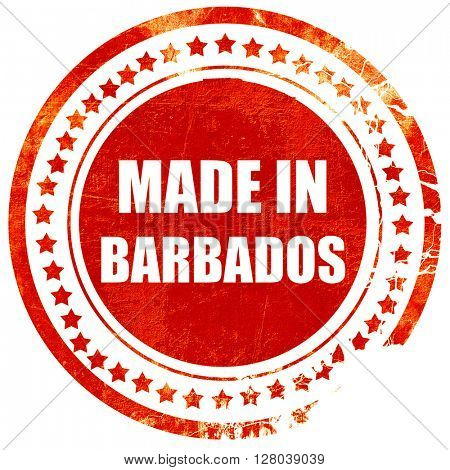 Made in barbados, grunge red rubber stamp on a solid white background