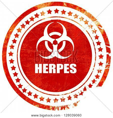 Herpes virus concept background, grunge red rubber stamp