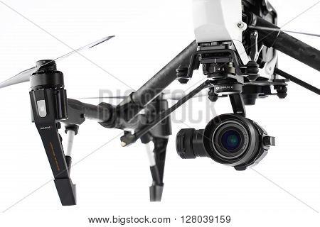 Varna, Bulgaria - April 23 ,2016: Image Of Dji Inspire 1 Pro Drone Uav Quadcopter Which Shoots 4K Vi