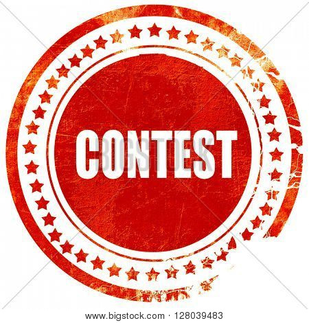 contest, grunge red rubber stamp on a solid white background