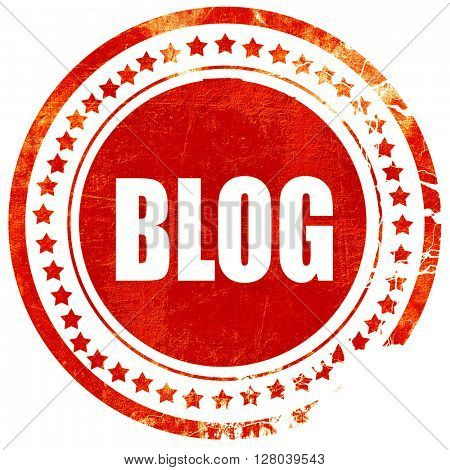 blog, grunge red rubber stamp on a solid white background