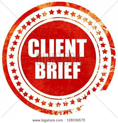 client brief, grunge red rubber stamp on a solid white backgroun