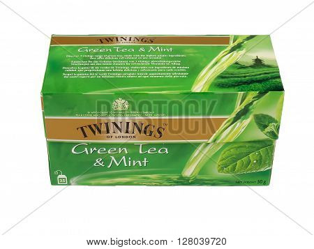 PULA, CROATIA - MAY 1, 2016: A studio shot of a box of Twinings Green Tea & Mint. An English marketer of teait holds the world's oldest continually used company logo.