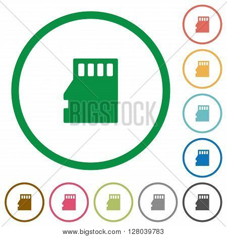 Set of Micro SD memory card color round outlined flat icons on white background