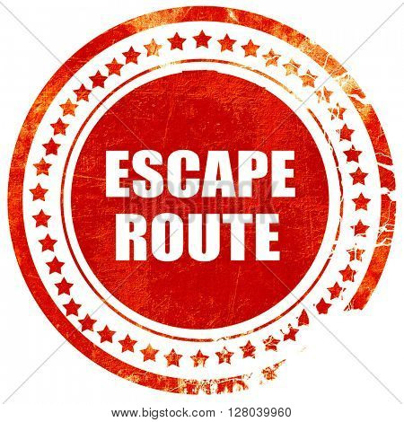 escape route, grunge red rubber stamp on a solid white backgroun