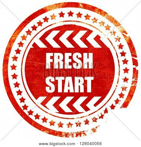 Fresh start sign, grunge red rubber stamp on a solid white backg