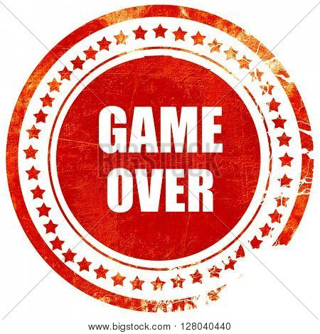game over, grunge red rubber stamp on a solid white background