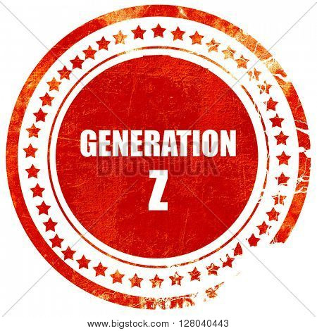 generation z, grunge red rubber stamp on a solid white backgroun