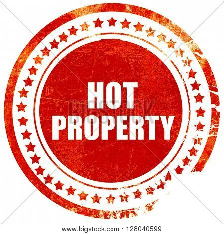hot property, grunge red rubber stamp on a solid white backgroun