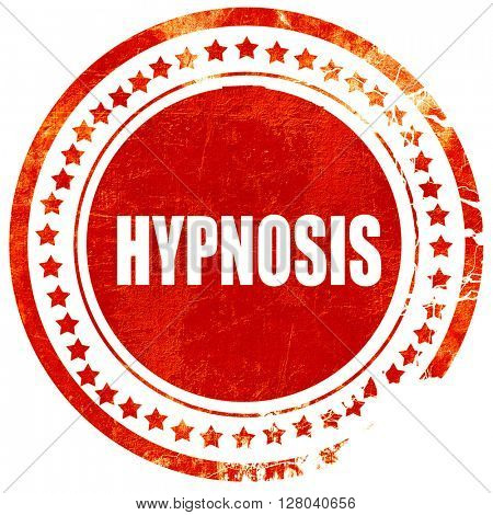 hypnosis, grunge red rubber stamp on a solid white background