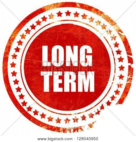 long term, grunge red rubber stamp on a solid white background
