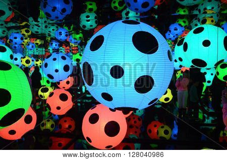 OSLO, NORWAY - MAY 01 2016: Yayoi Kusama - In Infinity. Yayoi Kusama came onto New York's 1960s art scene as almost a woman counterpart to Andy Warhol, expressing herself in a mixture of art, fashion, and happenings.