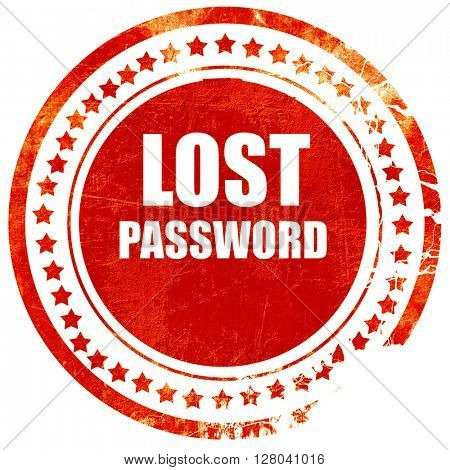 lost password, grunge red rubber stamp on a solid white backgrou