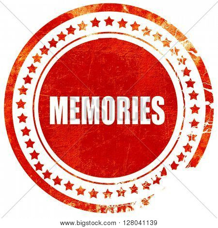 memories, grunge red rubber stamp on a solid white background