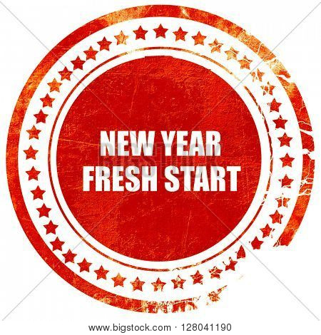 new year fresh start, grunge red rubber stamp on a solid white b