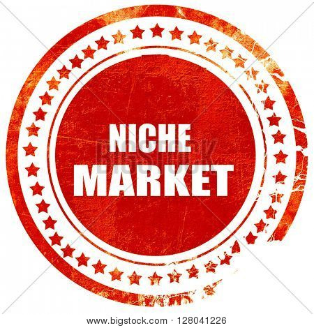 niche market, grunge red rubber stamp on a solid white backgroun
