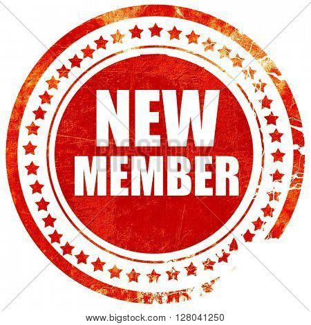 new member, grunge red rubber stamp on a solid white background
