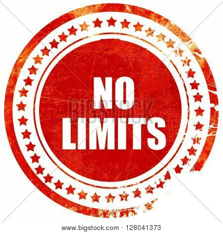 no limits, grunge red rubber stamp on a solid white background