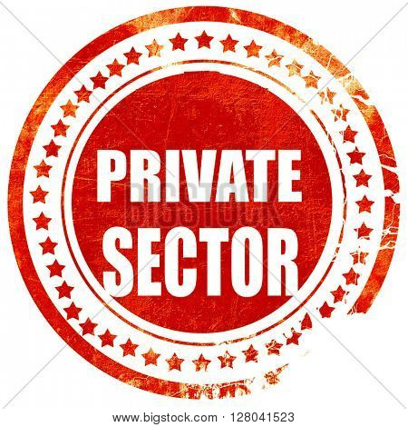 private sector, grunge red rubber stamp on a solid white backgro