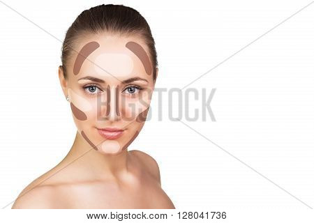 Make up woman face. Contour and highlight makeup. Isolated on white
