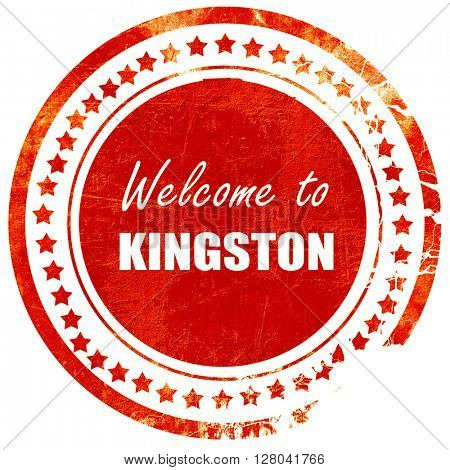 Welcome to kingston, grunge red rubber stamp on a solid white ba