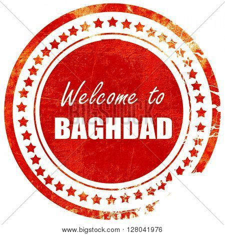 Welcome to baghdad, grunge red rubber stamp on a solid white bac