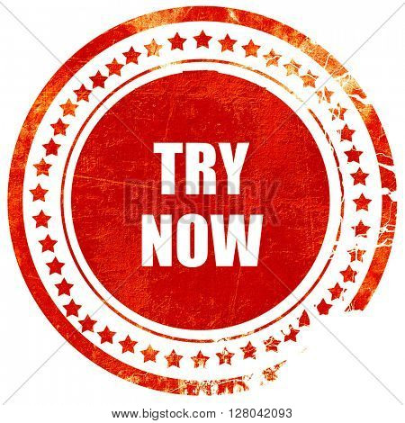 try now sign, grunge red rubber stamp on a solid white backgroun