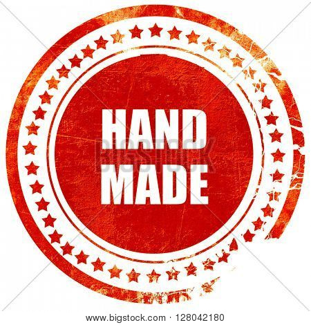 hand made sign, grunge red rubber stamp on a solid white backgro