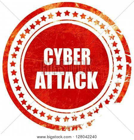 Cyber attack background, grunge red rubber stamp on a solid whit